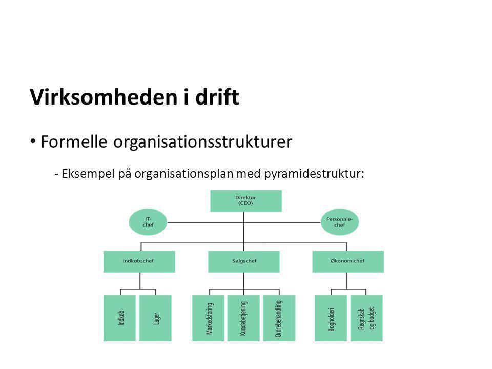 Virksomheden i drift - Eksempel på organisationsplan med pyramidestruktur: • Formelle organisationsstrukturer