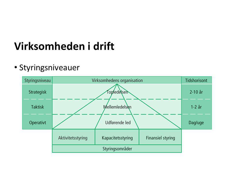 Virksomheden i drift • Styringsniveauer