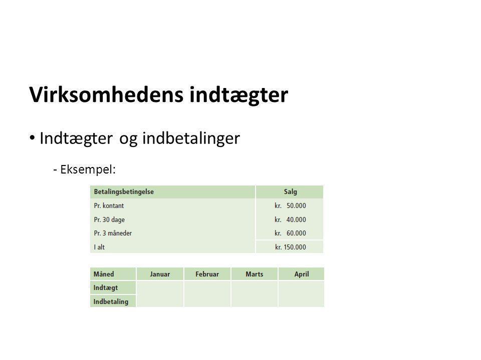 Virksomhedens indtægter - Eksempel: • Indtægter og indbetalinger