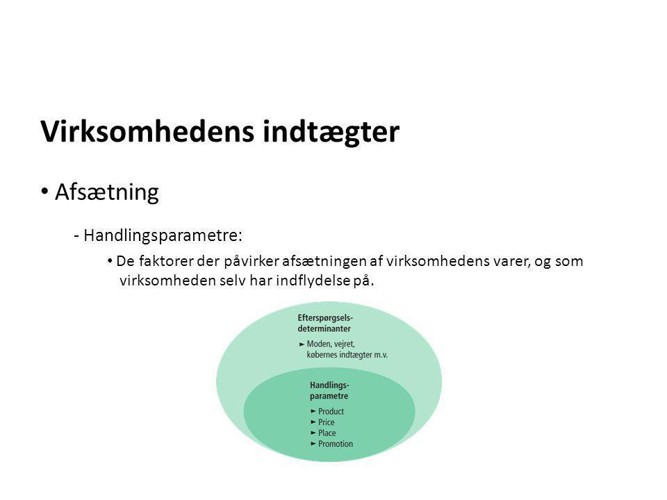 Virksomhedens indtægter - Handlingsparametre: • De faktorer der påvirker afsætningen af virksomhedens varer, og som virksomheden selv har indflydelse