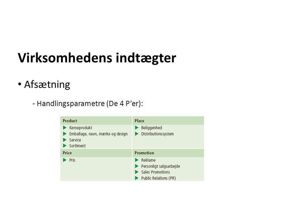 Virksomhedens indtægter - Handlingsparametre (De 4 P'er): • Afsætning