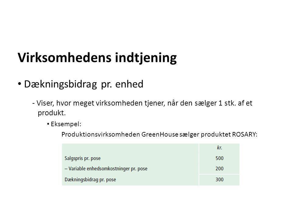 Virksomhedens indtjening - Viser, hvor meget virksomheden tjener, når den sælger 1 stk. af et produkt. • Eksempel: Produktionsvirksomheden GreenHouse