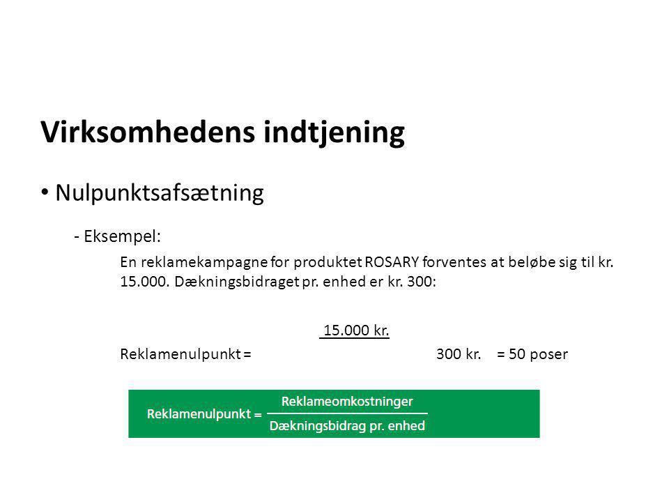 Virksomhedens indtjening - Eksempel: En reklamekampagne for produktet ROSARY forventes at beløbe sig til kr. 15.000. Dækningsbidraget pr. enhed er kr.