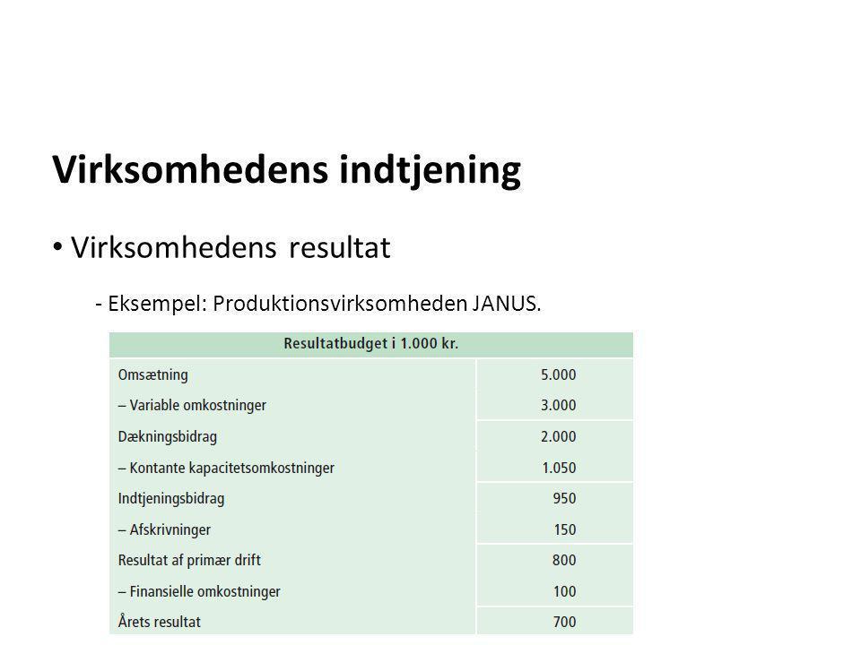 Virksomhedens indtjening - Eksempel: Produktionsvirksomheden JANUS. • Virksomhedens resultat