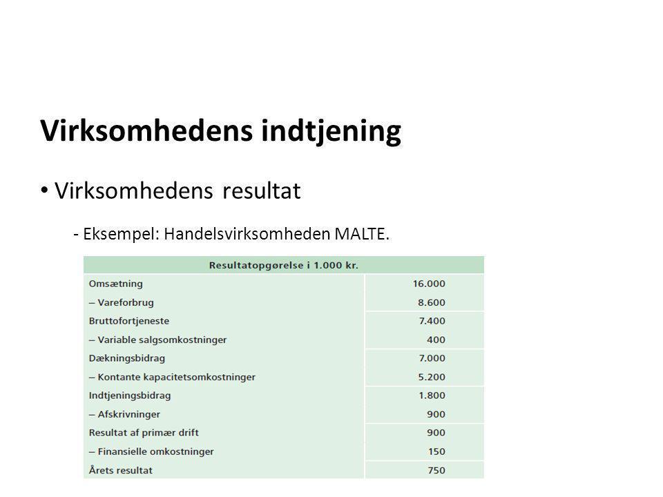 Virksomhedens indtjening - Eksempel: Handelsvirksomheden MALTE. • Virksomhedens resultat