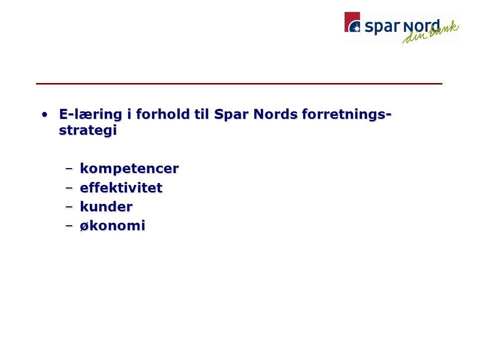 •E-læring i forhold til Spar Nords forretnings- strategi –kompetencer –effektivitet –kunder –økonomi