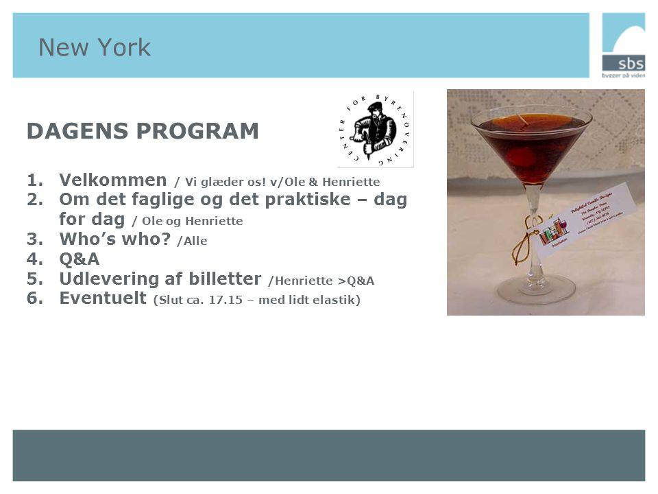 New York Generelt 1.Pas, penge, pilletter og phorsikring.