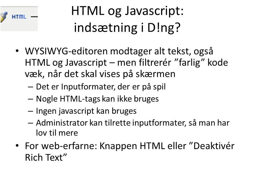 HTML og Javascript: indsætning i D!ng.