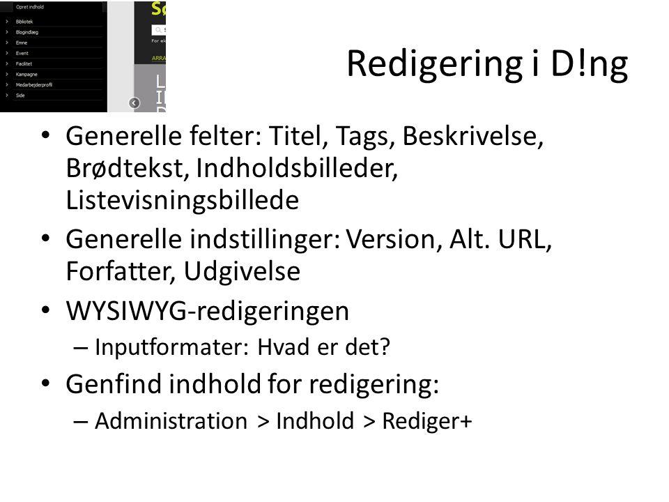 Redigering i D!ng • Generelle felter: Titel, Tags, Beskrivelse, Brødtekst, Indholdsbilleder, Listevisningsbillede • Generelle indstillinger: Version, Alt.