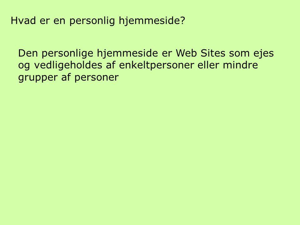 Hvad er en personlig hjemmeside.