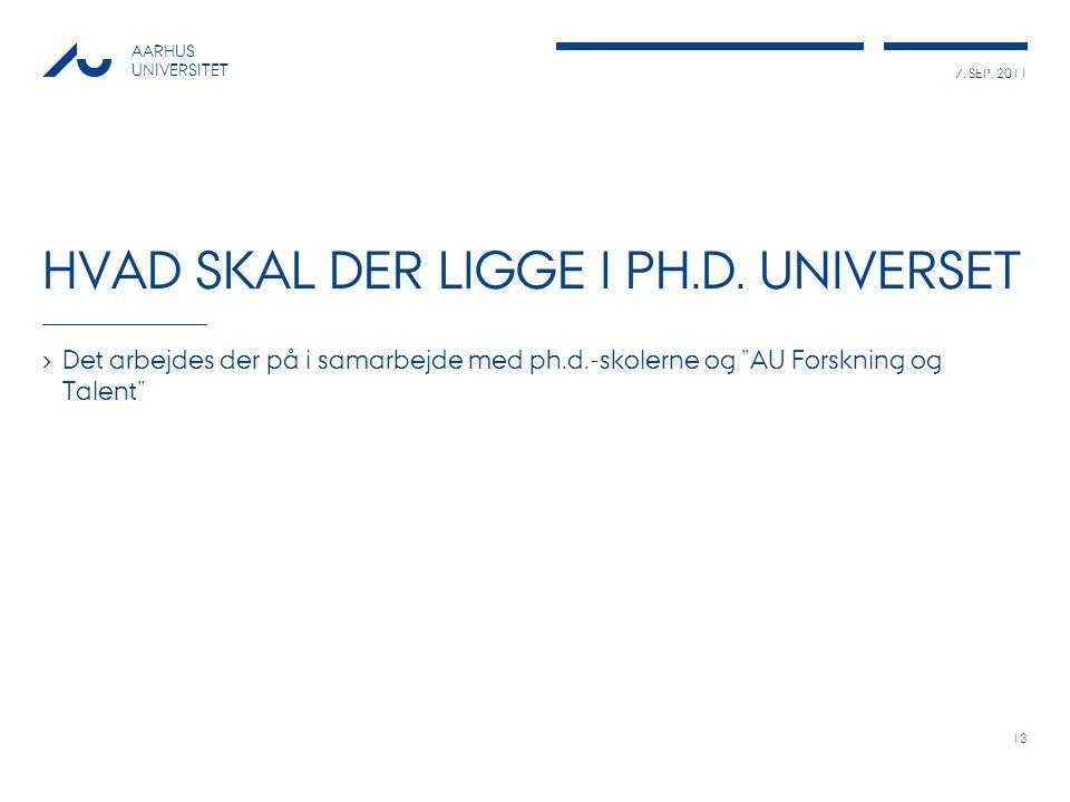 7. SEP, 2011 AARHUS UNIVERSITET HVAD SKAL DER LIGGE I PH.D.