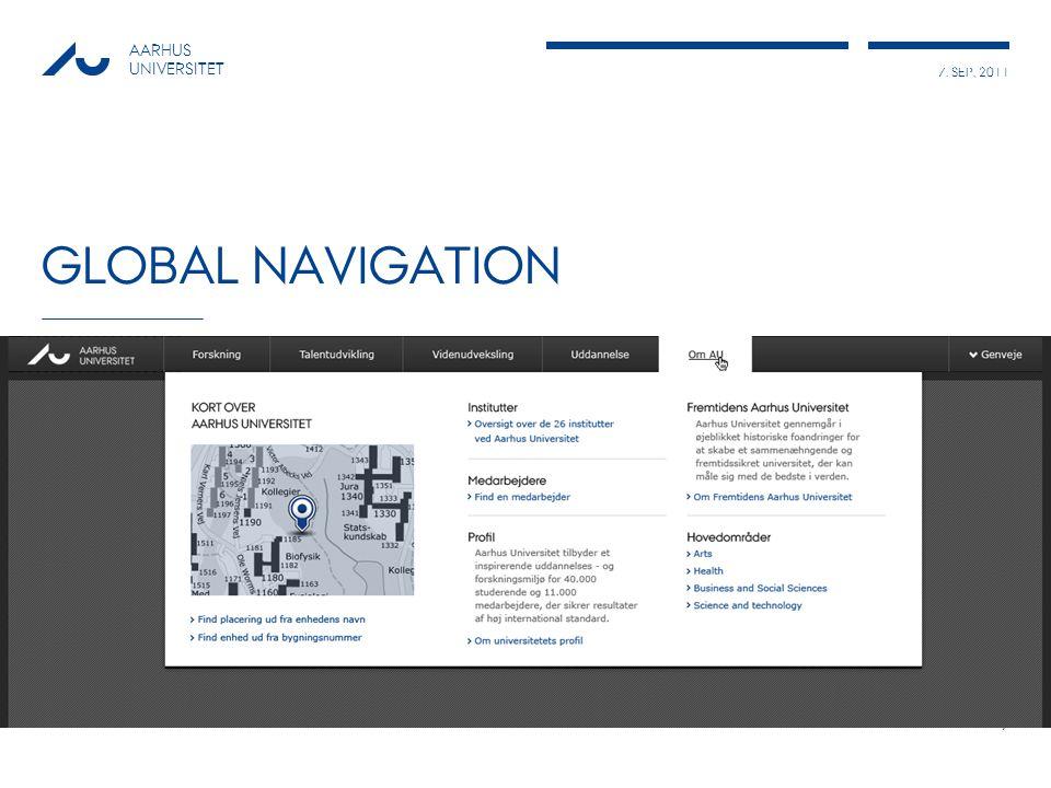 7. SEP, 2011 AARHUS UNIVERSITET GLOBAL NAVIGATION 7