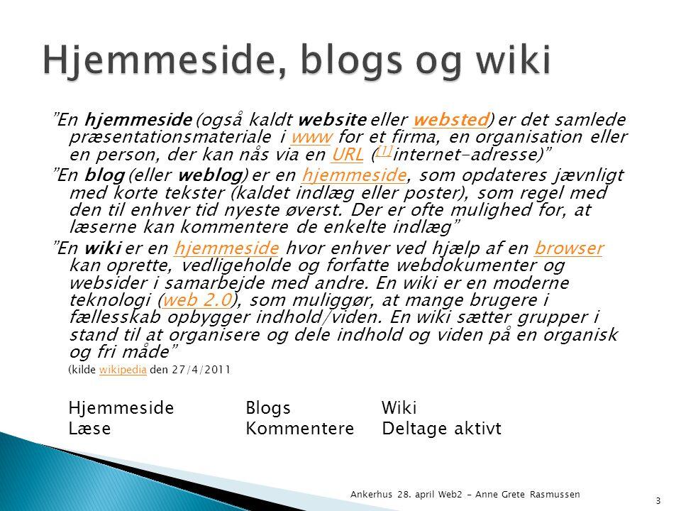 En hjemmeside (også kaldt website eller websted) er det samlede præsentationsmateriale i www for et firma, en organisation eller en person, der kan nås via en URL ( [1] internet-adresse) webstedwwwURL [1] En blog (eller weblog) er en hjemmeside, som opdateres jævnligt med korte tekster (kaldet indlæg eller poster), som regel med den til enhver tid nyeste øverst.