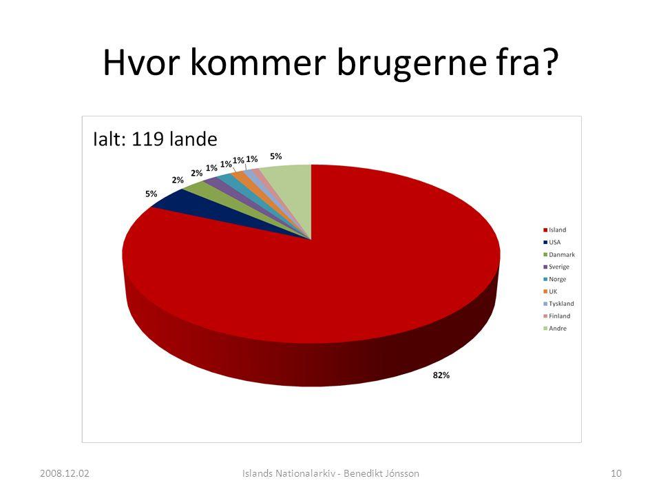 Hvor kommer brugerne fra 10Islands Nationalarkiv - Benedikt Jónsson2008.12.02