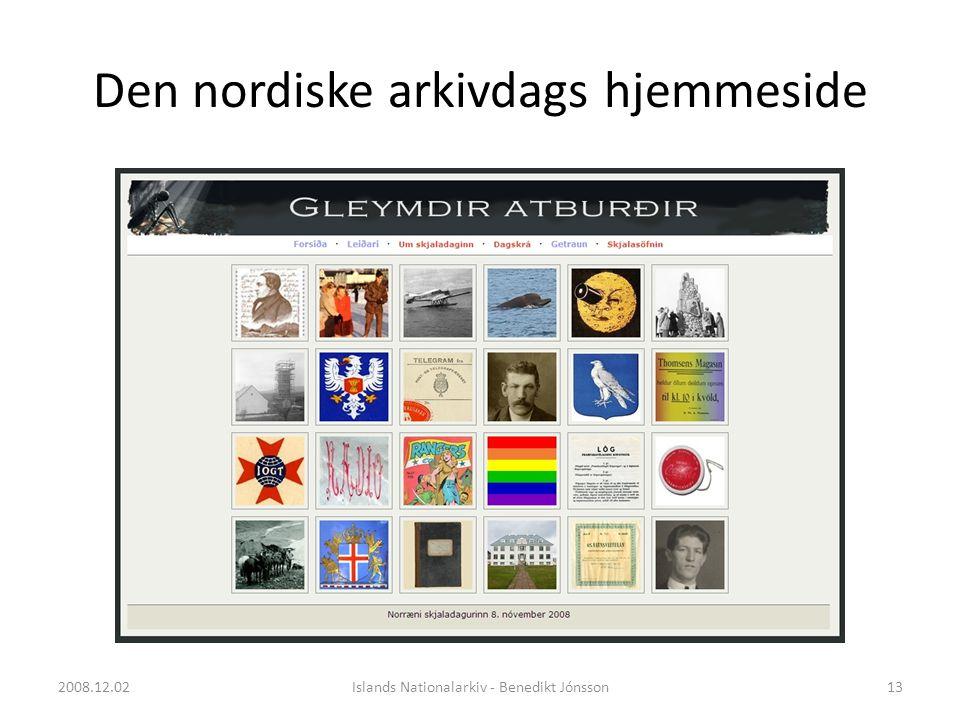 Den nordiske arkivdags hjemmeside 13Islands Nationalarkiv - Benedikt Jónsson2008.12.02
