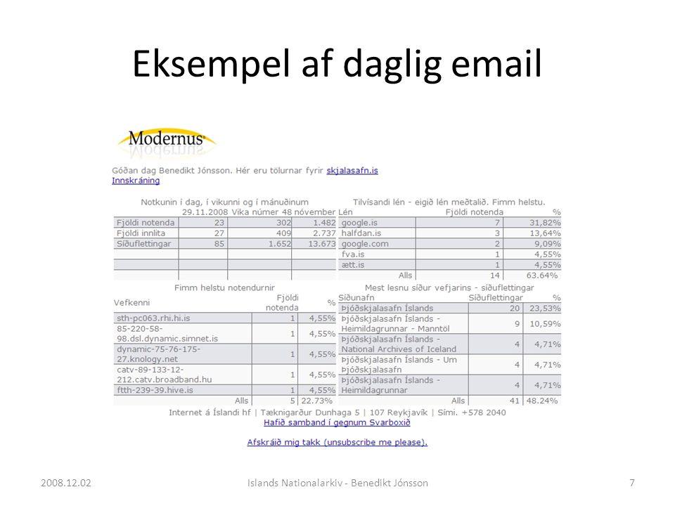 Eksempel af daglig email 7Islands Nationalarkiv - Benedikt Jónsson2008.12.02