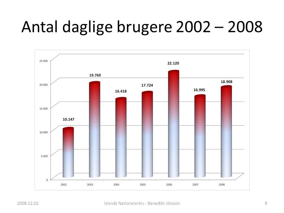 Antal daglige brugere 2002 – 2008 9Islands Nationalarkiv - Benedikt Jónsson2008.12.02