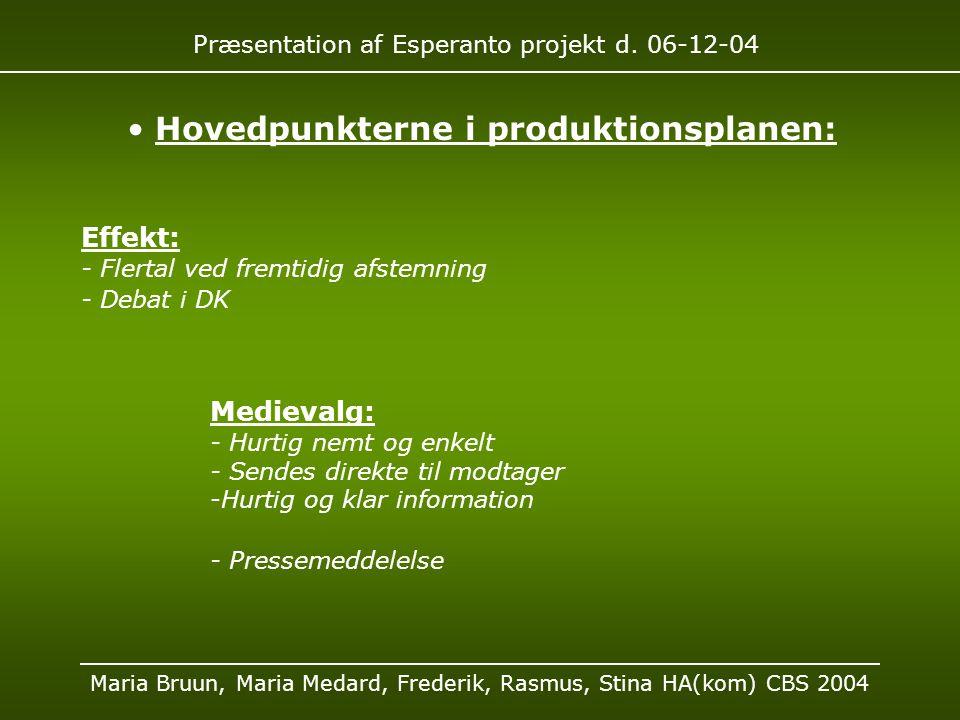 Præsentation af Esperanto projekt d.