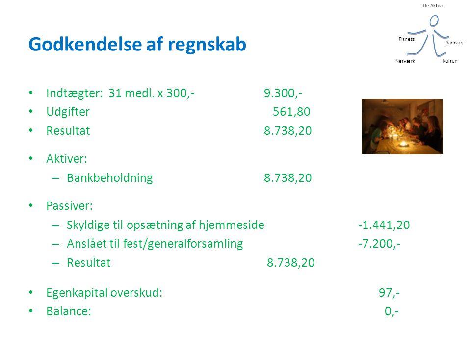 De Aktive Kultur Samvær Fitness Netværk Godkendelse af regnskab • Indtægter: 31 medl.