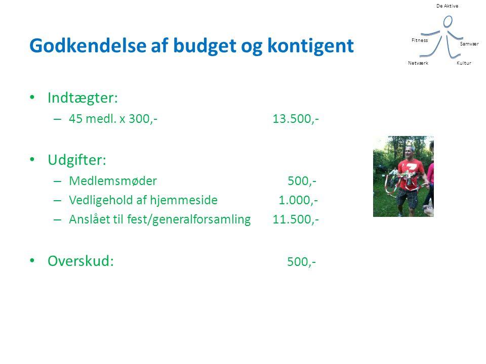 De Aktive Kultur Samvær Fitness Netværk Godkendelse af budget og kontigent • Indtægter: – 45 medl.
