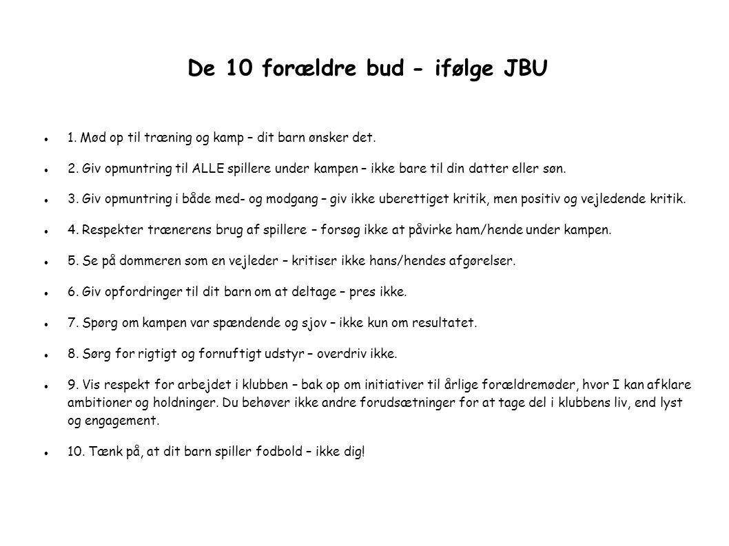 De 10 forældre bud - ifølge JBU  1. Mød op til træning og kamp – dit barn ønsker det.
