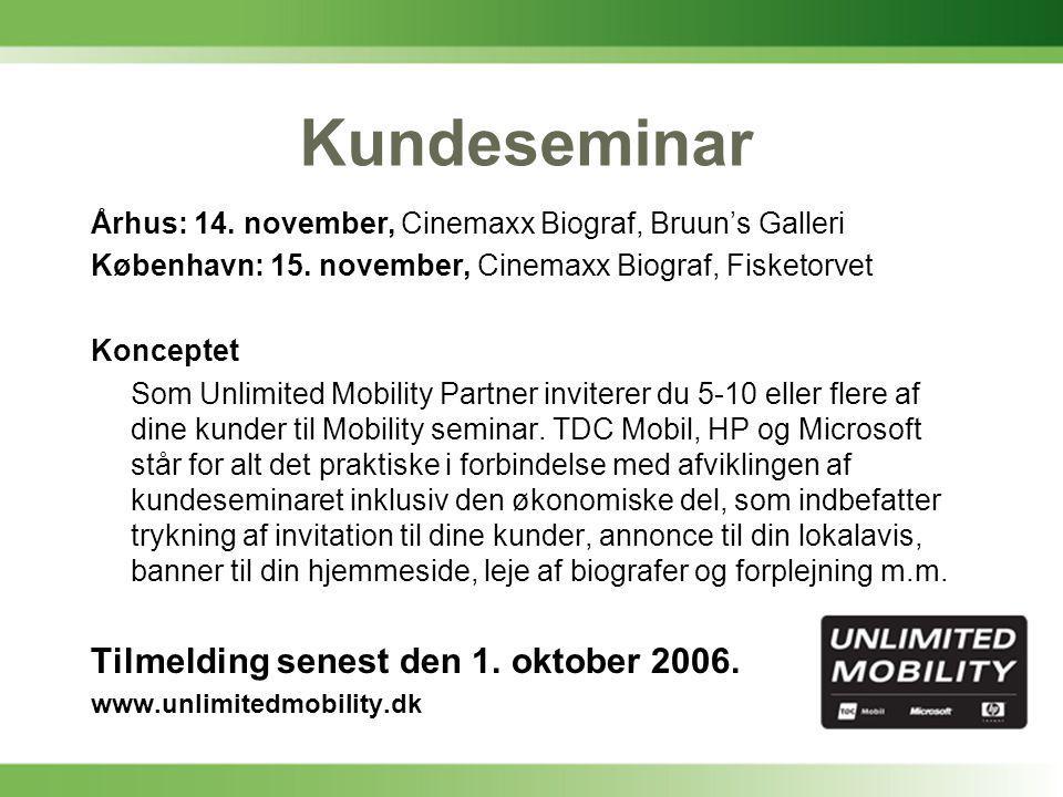 Kundeseminar Århus: 14. november, Cinemaxx Biograf, Bruun's Galleri København: 15.