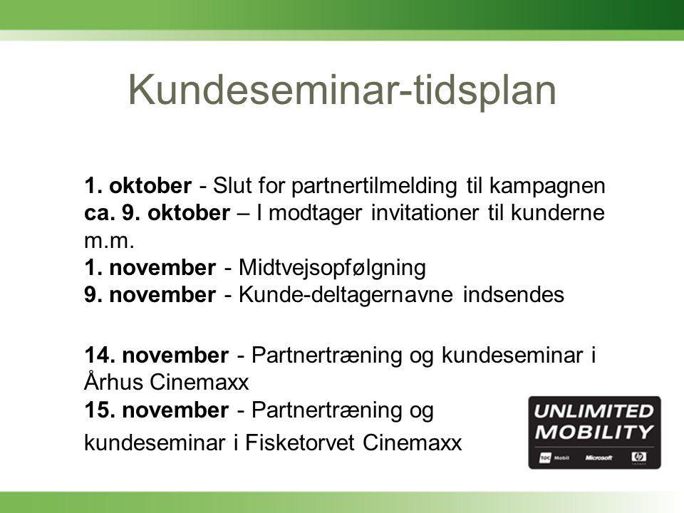 Kundeseminar-tidsplan 1. oktober - Slut for partnertilmelding til kampagnen ca.