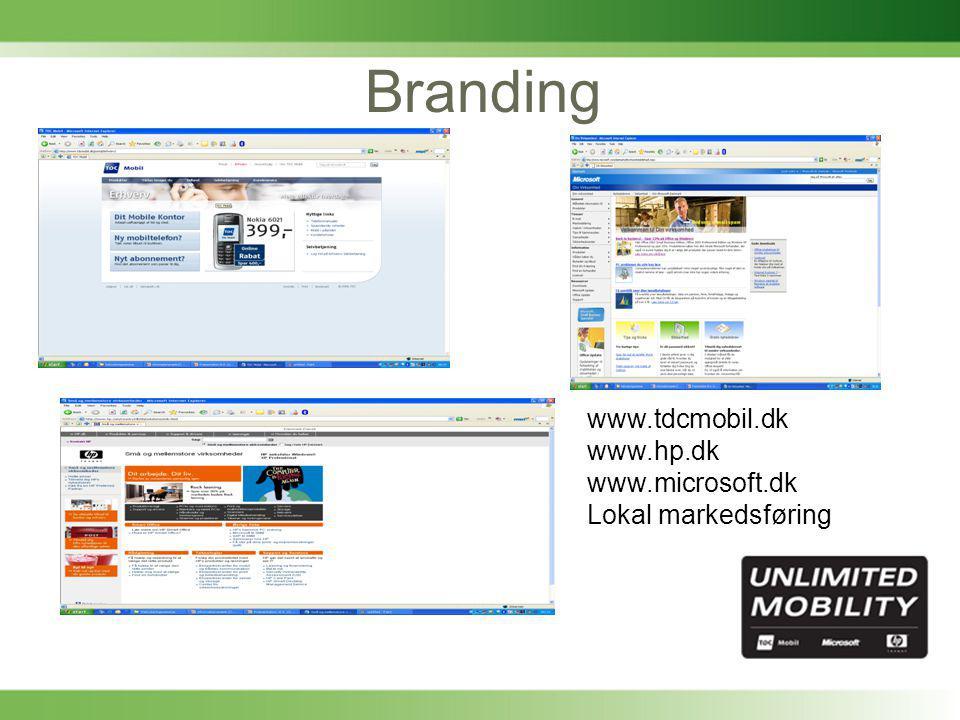Branding www.tdcmobil.dk www.hp.dk www.microsoft.dk Lokal markedsføring