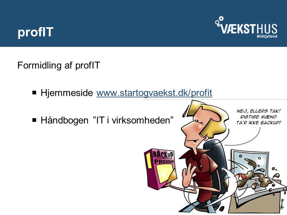 Formidling af profIT  Hjemmeside www.startogvaekst.dk/profitwww.startogvaekst.dk/profit  Håndbogen IT i virksomheden