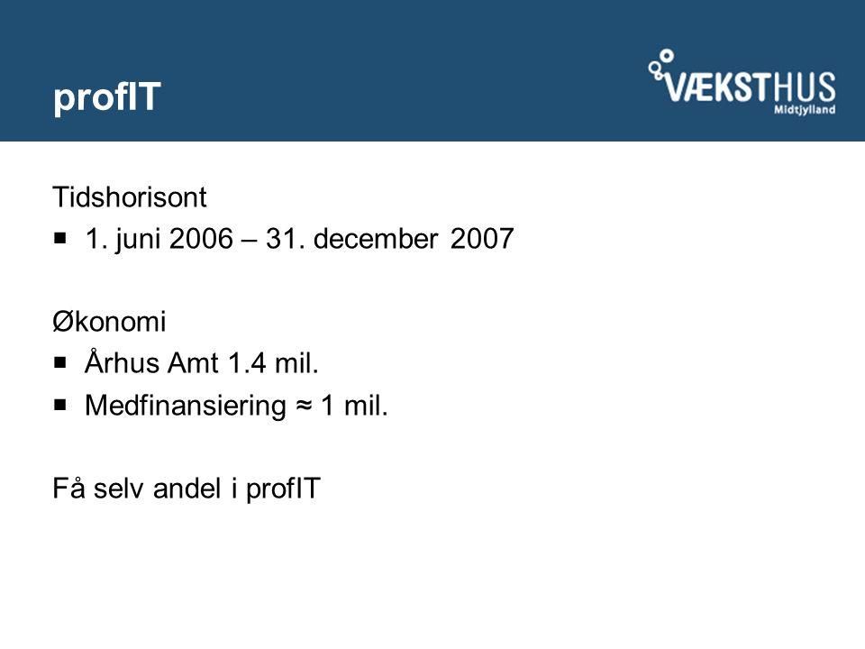profIT Tidshorisont  1. juni 2006 – 31. december 2007 Økonomi  Århus Amt 1.4 mil.