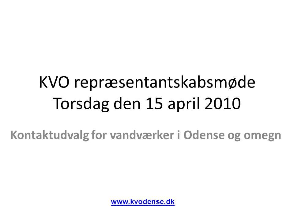 KVO repræsentantskabsmøde Torsdag den 15 april 2010 Kontaktudvalg for vandværker i Odense og omegn www.kvodense.dk