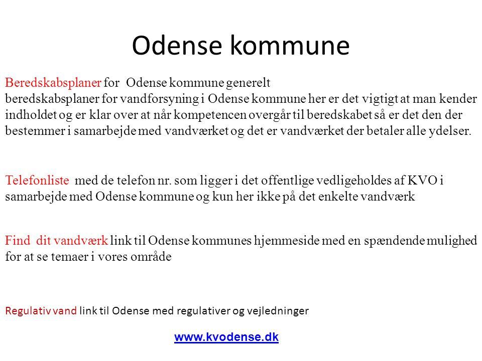 Beredskabsplaner for Odense kommune generelt beredskabsplaner for vandforsyning i Odense kommune her er det vigtigt at man kender indholdet og er klar over at når kompetencen overgår til beredskabet så er det den der bestemmer i samarbejde med vandværket og det er vandværket der betaler alle ydelser.
