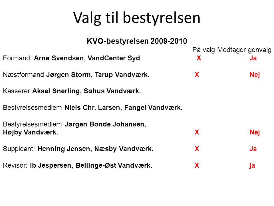 Valg til bestyrelsen KVO-bestyrelsen 2009-2010 På valg Modtager genvalg Formand: Arne Svendsen, VandCenter Syd X Ja Næstformand Jørgen Storm, Tarup Vandværk.