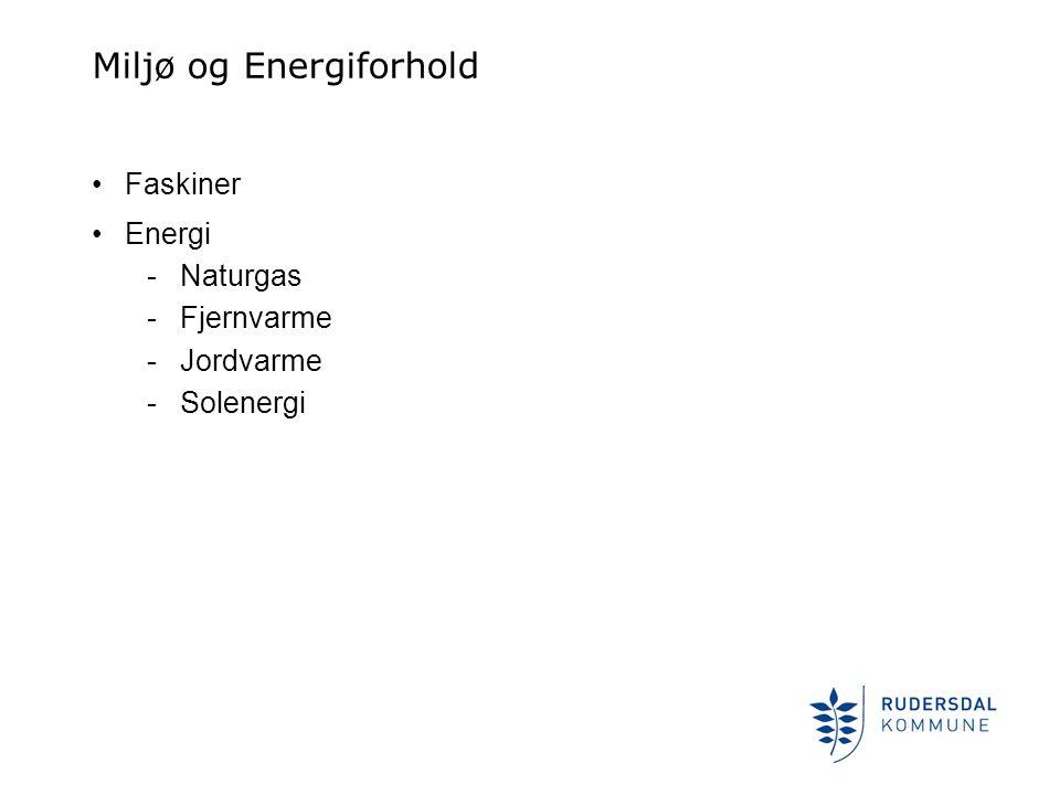 Miljø og Energiforhold •Faskiner •Energi -Naturgas -Fjernvarme -Jordvarme -Solenergi