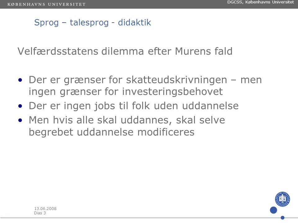 13.06.2008 Dias 2 DGCSS, Københavns Universitet Sprog – talesprog - didaktik INTRO