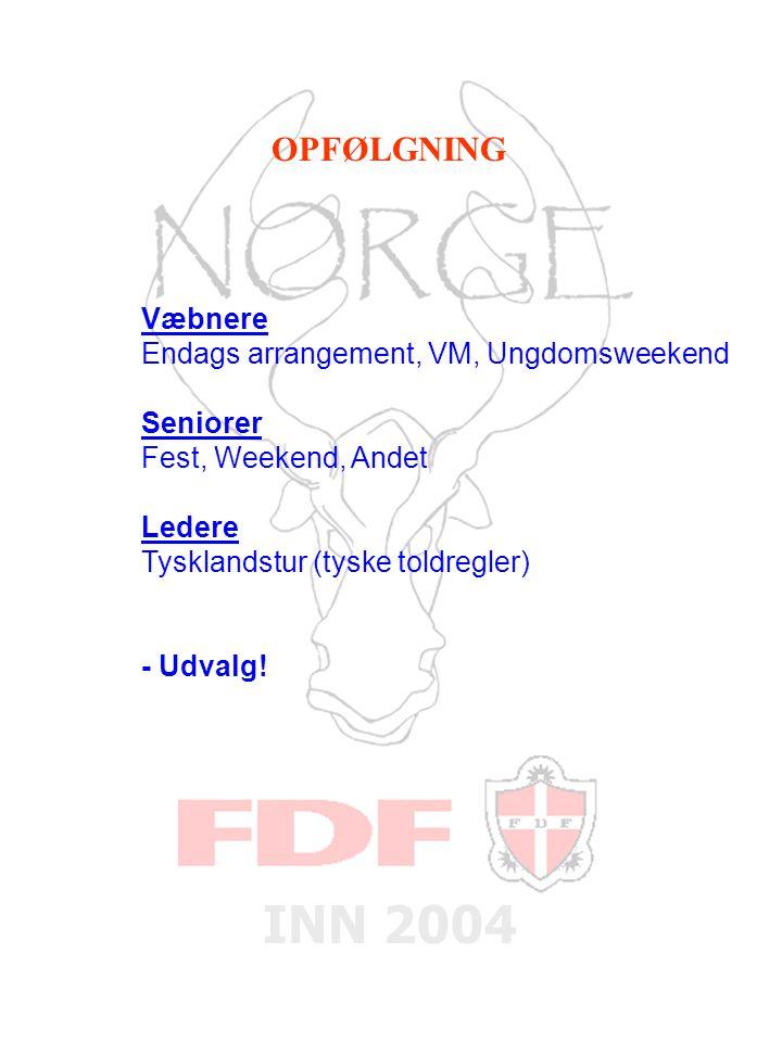 INN 2004 Væbnere Endags arrangement, VM, Ungdomsweekend Seniorer Fest, Weekend, Andet Ledere Tysklandstur (tyske toldregler) - Udvalg.