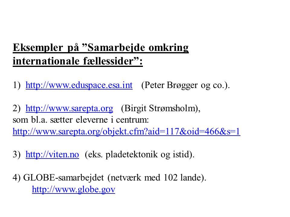 Eksempler på Samarbejde omkring internationale fællessider : 1) http://www.eduspace.esa.int (Peter Brøgger og co.).http://www.eduspace.esa.int 2) http://www.sarepta.org (Birgit Strømsholm),http://www.sarepta.org som bl.a.