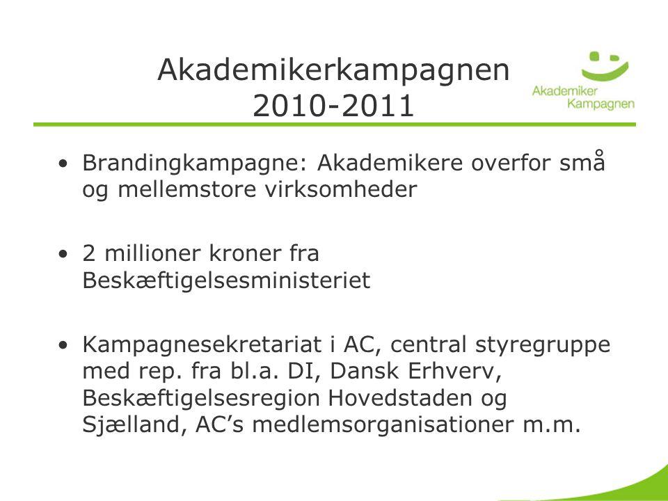 Akademikerkampagnen 2010-2011 •Brandingkampagne: Akademikere overfor små og mellemstore virksomheder •2 millioner kroner fra Beskæftigelsesministeriet •Kampagnesekretariat i AC, central styregruppe med rep.