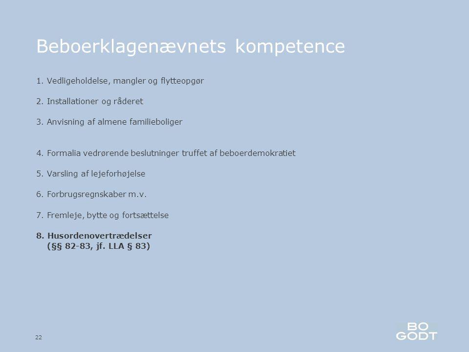 22 Beboerklagenævnets kompetence 1. Vedligeholdelse, mangler og flytteopgør 2.