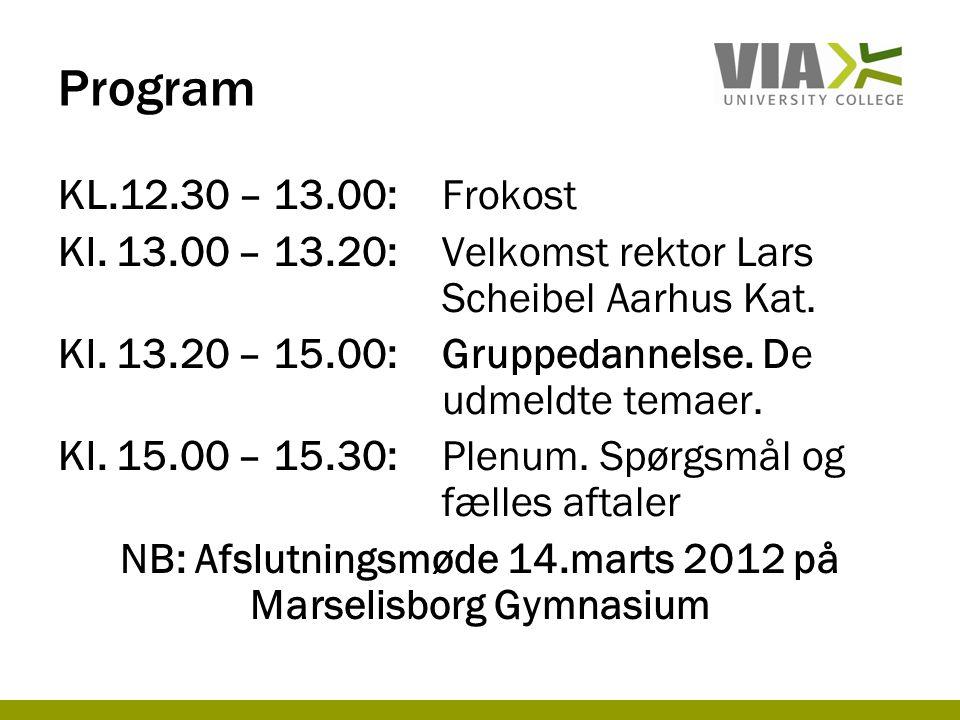 Program KL.12.30 – 13.00:Frokost Kl. 13.00 – 13.20:Velkomst rektor Lars Scheibel Aarhus Kat.