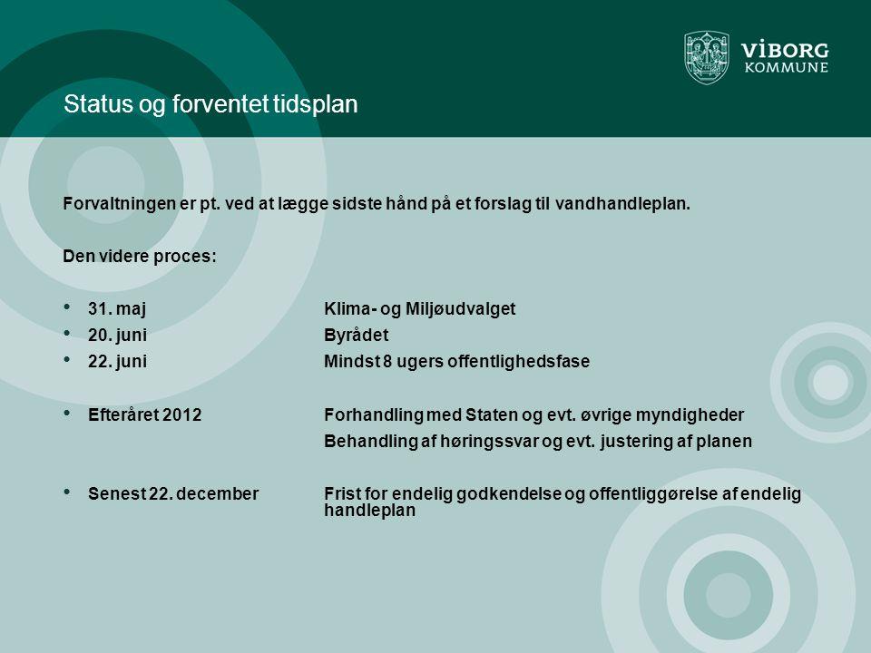 Status og forventet tidsplan Forvaltningen er pt.