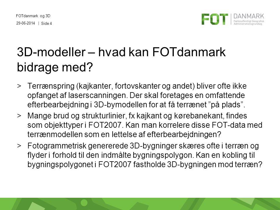 29-06-2014 | FOTdanmark og 3D Side 4 3D-modeller – hvad kan FOTdanmark bidrage med.