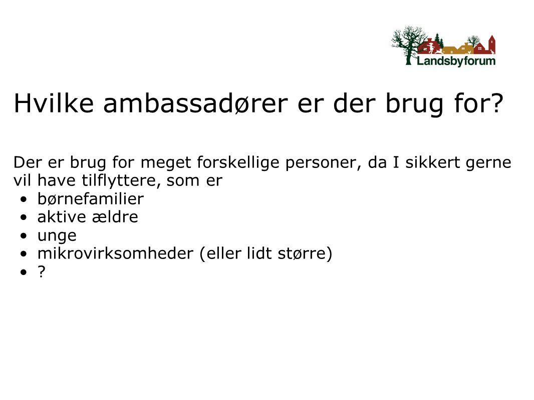Hvilke ambassadører er der brug for.
