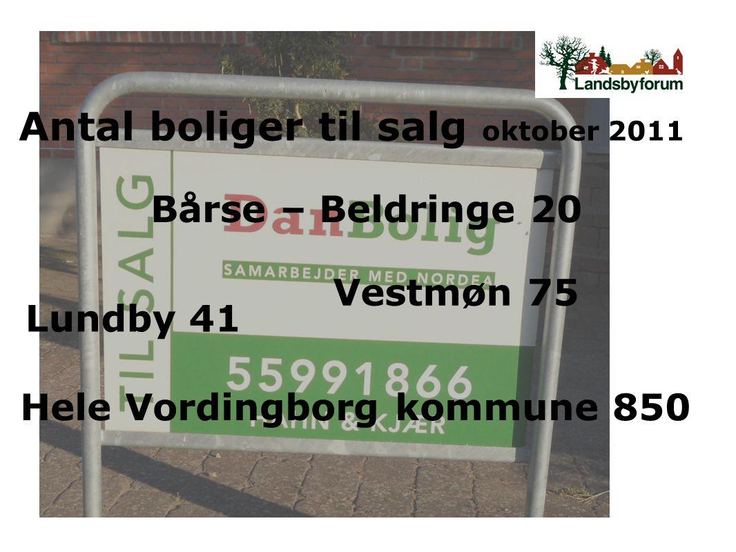 Antal boliger til salg oktober 2011 Bårse – Beldringe 20 Lundby 41 Vestmøn 75 Hele Vordingborg kommune 850