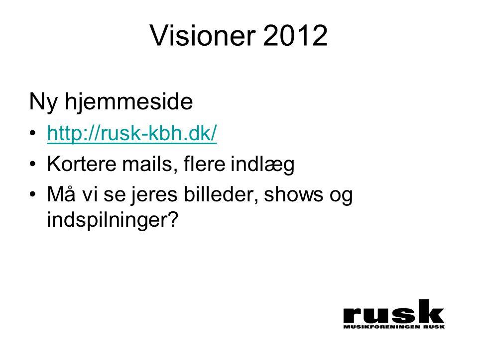Visioner 2012 Ny hjemmeside •http://rusk-kbh.dk/http://rusk-kbh.dk/ •Kortere mails, flere indlæg •Må vi se jeres billeder, shows og indspilninger