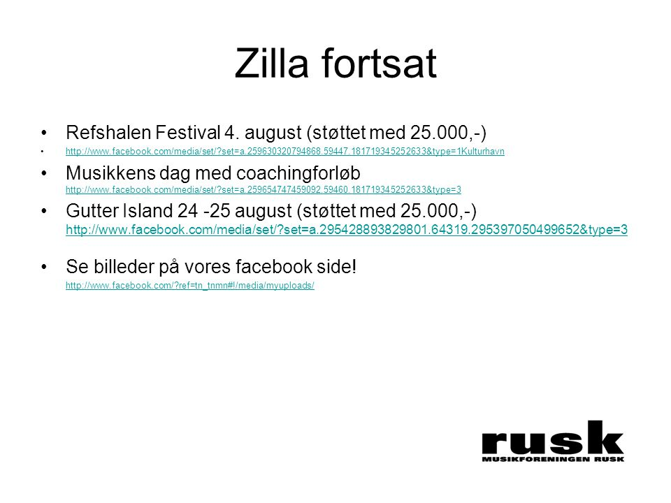 Zilla fortsat •Refshalen Festival 4.