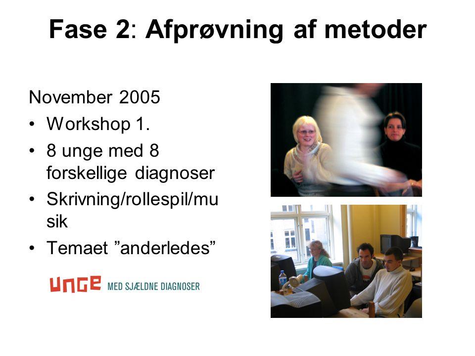 Fase 2: Afprøvning af metoder November 2005 •Workshop 1.