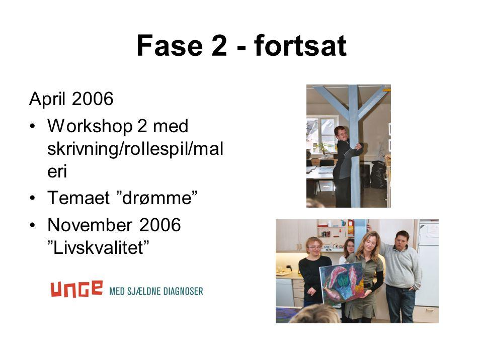 Fase 2 - fortsat April 2006 •Workshop 2 med skrivning/rollespil/mal eri •Temaet drømme •November 2006 Livskvalitet