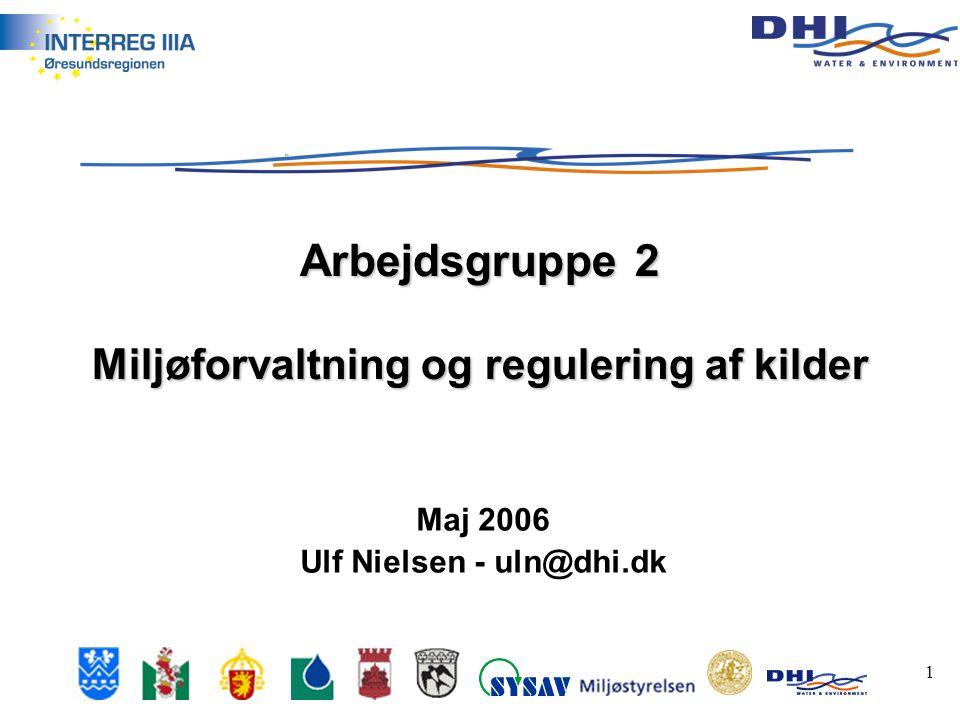 1 Maj 2006 Ulf Nielsen - uln@dhi.dk Arbejdsgruppe 2 Miljøforvaltning og regulering af kilder