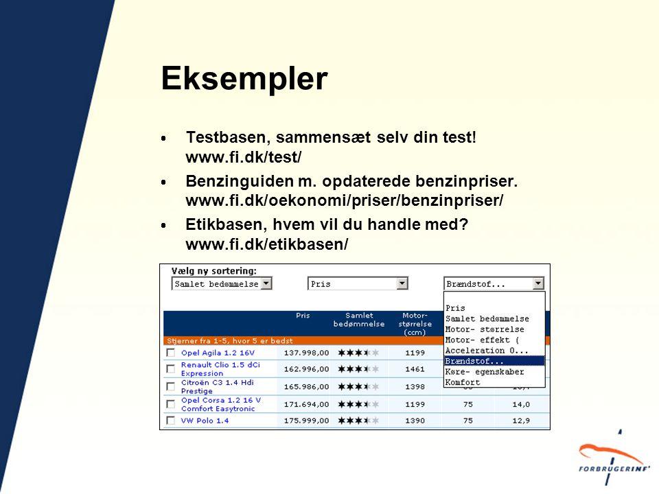 Eksempler  Testbasen, sammensæt selv din test. www.fi.dk/test/  Benzinguiden m.